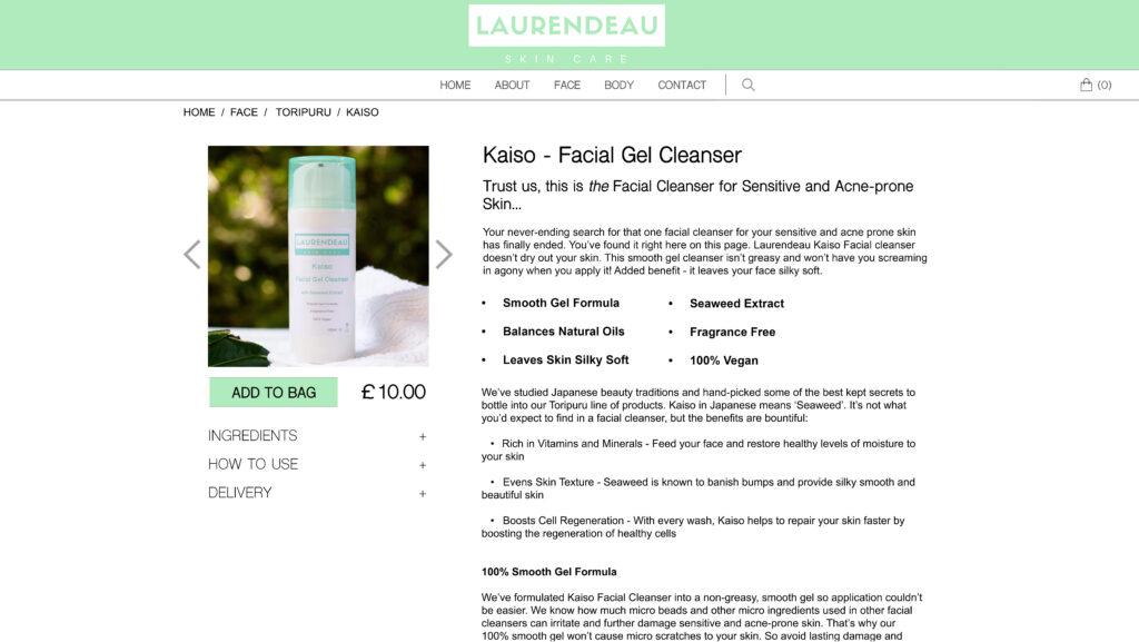 Cleanser Product Description Webpage