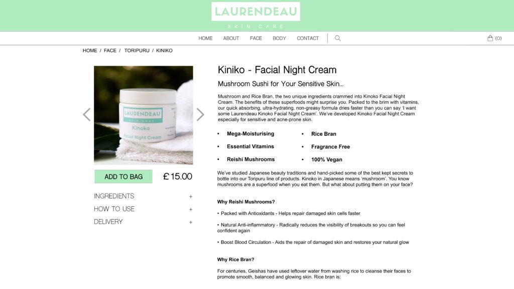 Cream Product Description Webpage