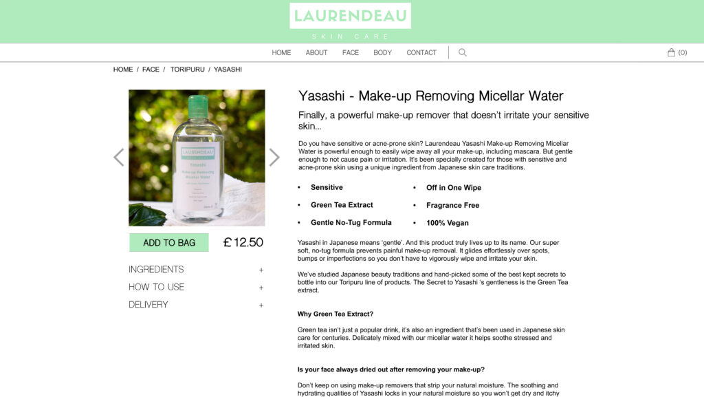 Micellar Product Description Webpage