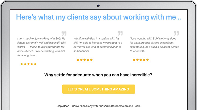 CopyBean home page reviews for Bob Taylor freelance copywriter based in Bournemouth