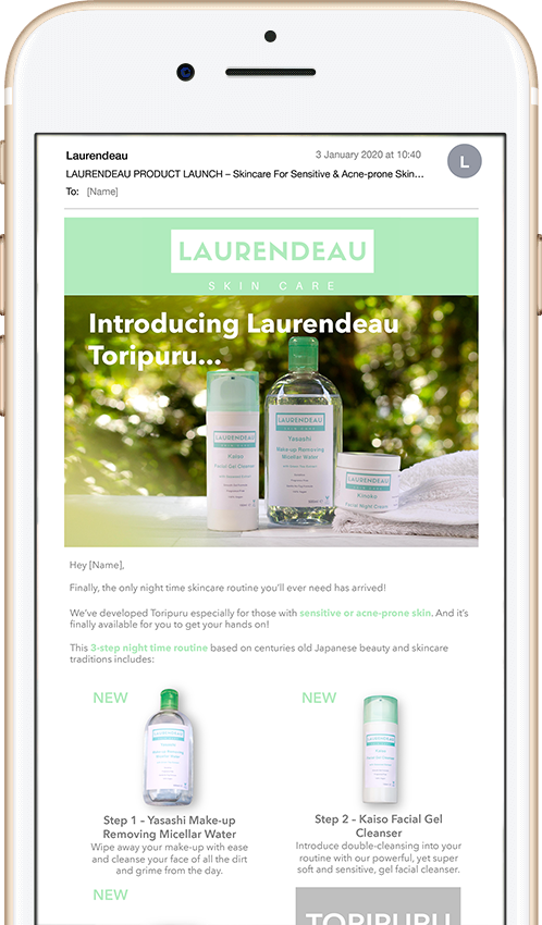Sales email / launch email displayed on iPhone screen