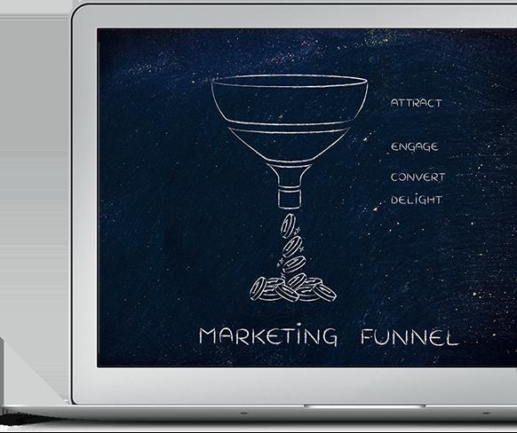 Sales funnel displayed on a macbook