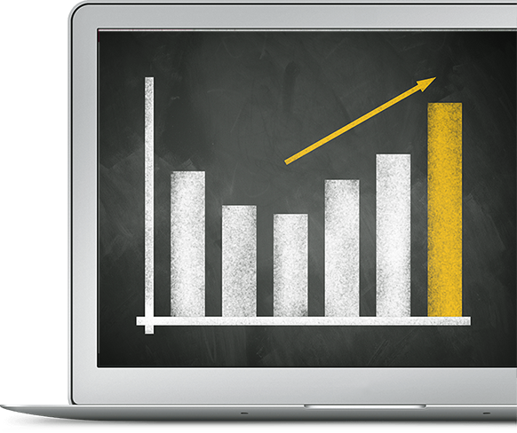 Sales chart displayed on a macbook